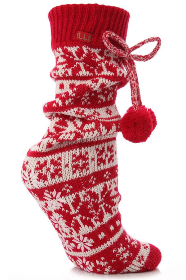 Elle Slipper Socks - Fairisle Home Knit Booties Red - Slipper ...
