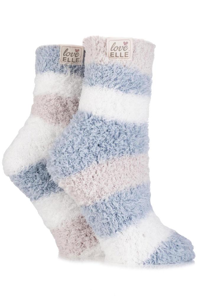 Soft Fluffy Bed Socks - Two Pairs Fluffy Bedtime Socks - Downy - Slipper Sock...
