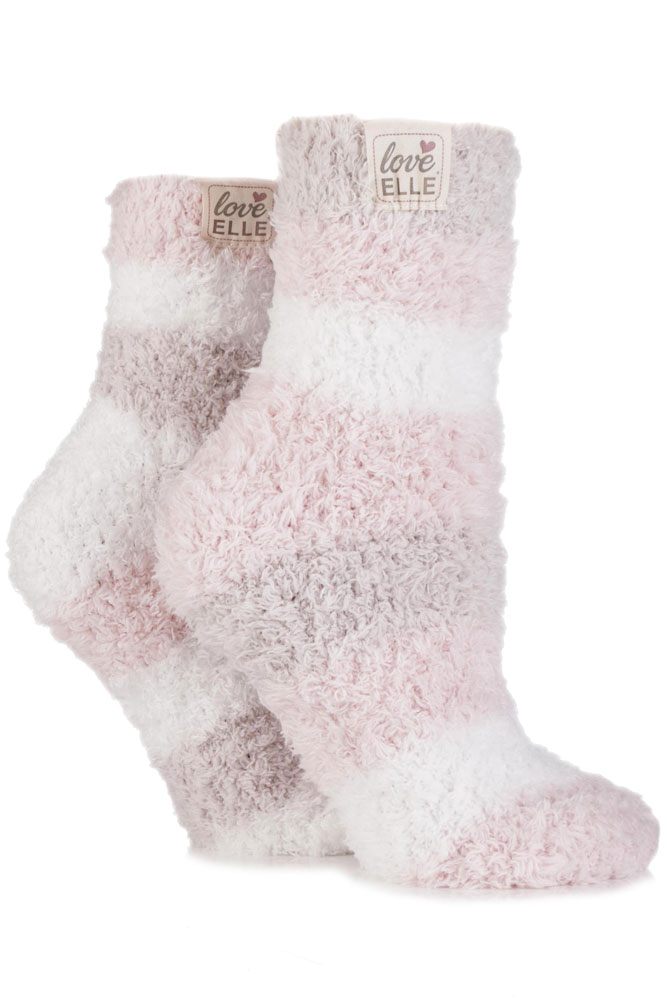 Soft Fluffy Bed Socks - Two Pairs Fluffy Bedtime Socks - Powder Pink - Slippe...