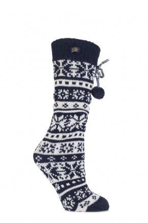 Fairisle Home Knit Booties Navy - Slipper Socks - pjsandprose.com