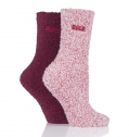 Two Pairs Two Tone Cosy Bed Socks - Dark Ruby